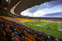 A general view during the Super Rugby Aotearoa match between the Hurricanes and Highlanders at Sky Stadium in Wellington, New Zealand on Sunday, 12 July 2020. Photo: Dave Lintott / lintottphoto.co.nz