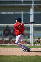 Boston Red Sox Tim Roberson (38) bats during a minor league Spring Training game against the Baltimore Orioles on March 16, 2017 at the Buck O'Neil Baseball Complex in Sarasota, Florida. (Mike Janes/Four Seam Images)