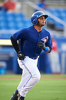 GCL Blue Jays right fielder Antony Fuentes (57) runs to first during the first game of a doubleheader against the GCL Phillies on August 15, 2016 at Florida Auto Exchange Stadium in Dunedin, Florida.  GCL Phillies defeated the GCL Blue Jays 7-5 in a continuation of a game originally started on July 30th.  (Mike Janes/Four Seam Images)
