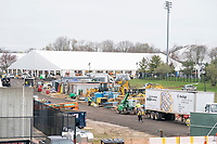 STONY BROOK, NEW YORK - APRIL 08:  Workers scramble to erect NON-COVID-19, Coronavirus hospital tents on the Stony Brook University Campus on April 8, 2020 in Stony Brook New York.<br /> <br /> <br /> People:  Coronavirus Hospital Tents