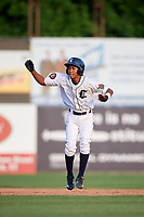 Connecticut Tigers shortstop Jose King (48) leads off second base during a game against the Lowell Spinners on August 26, 2018 at Dodd Stadium in Norwich, Connecticut.  Connecticut defeated Lowell 11-3.  (Mike Janes/Four Seam Images)