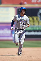 Mike Marjama (3) of the Durham Bulls rounds the bases after hitting a home run against the Lehigh Valley Iron Pigs at Coca-Cola Park on July 30, 2017 in Allentown, Pennsylvania.  The Bulls defeated the IronPigs 8-2.  (Brian Westerholt/Four Seam Images)