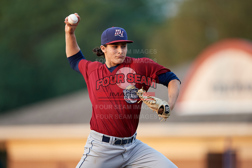 Mahoning Valley Scrappers starting pitcher Elijah Morgan (43) delivers a pitch during a game against the Batavia Muckdogs on September 5, 2017 at Dwyer Stadium in Batavia, New York.  Mahoning Valley defeated Batavia 4-3.  (Mike Janes/Four Seam Images)