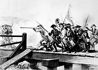 The Struggle at Concord Bridge.  April 1775. Copy of engraving by W. J. Edwards after Alonzo Chappel, ca.  1859. (Marine Corps)<br /> Exact Date Shot Unknown<br /> NARA FILE #:  127-N-521360<br /> WAR & CONFLICT #:  11