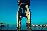 .Dockside crane in the port of Cadiz, southern Spain...