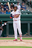 Third baseman Brandon Howlett  (35) of the Greenville Drive in a game against the Greensboro Grasshoppers on Tuesday, July 20, 2021, at Fluor Field at the West End in Greenville, South Carolina. (Tom Priddy/Four Seam Images)