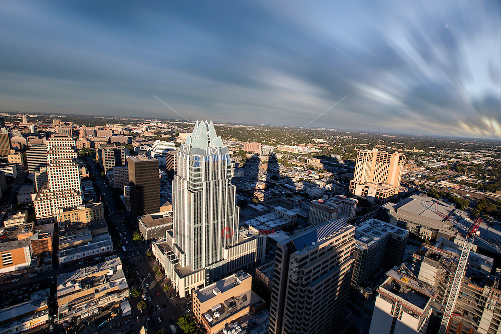 Austin Skyline looking up Congress Avenue to the Texas State Capitol and University of Texas Tower in the foreground.