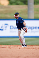 Mobile BayBears shortstop Angel Rosa (14) throws to first base during a game against the Pensacola Blue Wahoos on April 26, 2017 at Hank Aaron Stadium in Mobile, Alabama.  Pensacola defeated Mobile 5-3.  (Mike Janes/Four Seam Images)