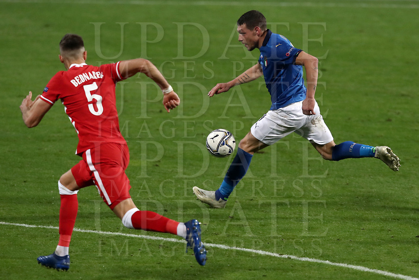 Football: Uefa Nations League Group A match Italy vs Poland at Mapei stadium, Città del Tricolore in Reggio Emilia, on Novemner 15, 2020.<br /> Italy's Andrea Belotti (r) in action with Poland's Jan Bednarek  (l) during the Uefa Nations League match between Italy and Poland at Mapei  stadium  città del Tricolore in Reggio Emillia, on November 15, 2020. <br /> UPDATE IMAGES PRESS/Isabella Bonotto