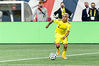 FOXBOROUGH, MA - OCTOBER 3: Randall Leal #8 of Nashville SC looks to pass during a game between Nashville SC and New England Revolution at Gillette Stadium on October 3, 2020 in Foxborough, Massachusetts.