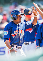 15 March 2016: Houston Astros infielder Tony Kemp, ranked the 15th Top Prospect in the Astros organization for 2016 by Baseball America, returns to the dugout after scoring in the 8th inning of a Spring Training pre-season game against the Washington Nationals at Osceola County Stadium in Kissimmee, Florida. The Astros fell to the Nationals 6-4 in Grapefruit League play. Mandatory Credit: Ed Wolfstein Photo *** RAW (NEF) Image File Available ***
