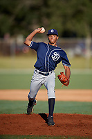 Johzan Oquendo during the WWBA World Championship at the Roger Dean Complex on October 19, 2018 in Jupiter, Florida.  Johzan Oquendo is a right handed pitcher from Carolina, Puerto Rico.  (Mike Janes/Four Seam Images)