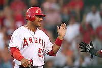 Los Angeles Angels designated hitter Bobby Abreu #53 returns to the Angels dugout after scoring against the Baltimore Orioles at Angel Stadium on August 20, 2011 in Anaheim,California. Los Angeles defeated Baltimore 9-8.(Larry Goren/Four Seam Images)