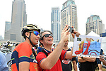 Vincenzo Nibali (ITA) Bahrain-Merida poses with a fan at sign on before the start of Stage 4 The Municipality Stage of the Dubai Tour 2018 the Dubai Tour's 5th edition, running 172km from Skydive Dubai to Hatta Dam, Dubai, United Arab Emirates. 9th February 2018.<br /> Picture: LaPresse/Massimo Paolone | Cyclefile<br /> <br /> <br /> All photos usage must carry mandatory copyright credit (© Cyclefile | LaPresse/Massimo Paolone)