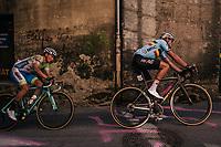 Greg Van Avermaet (BEL/BMC) followed by a bruised Primoz Roglic (SVK/LottoNL-Jumbo) (from an earlier crash)<br /> <br /> MEN ELITE ROAD RACE<br /> Kufstein to Innsbruck: 258.5 km<br /> <br /> UCI 2018 Road World Championships<br /> Innsbruck - Tirol / Austria