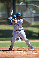 AZL Royals Edickson Soto (19) at bat during an Arizona League game against the AZL Dodgers Lasorda on July 4, 2019 at Camelback Ranch in Glendale, Arizona. The AZL Royals defeated the AZL Dodgers Lasorda 4-1. (Zachary Lucy/Four Seam Images)