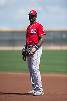 Cincinnati Reds first baseman Montrell Marshall (9) during a Minor League Spring Training game against the Los Angeles Angels at the Cincinnati Reds Training Complex on March 15, 2018 in Goodyear, Arizona. (Zachary Lucy/Four Seam Images)