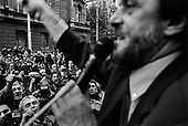 Belgarde, Serbia<br /> October 2000<br /> <br /> Vuk Draskovic, a former Serbian opposition leader, addresses a crowd of students in front of the Parliament building after Milosevic is removed from office.