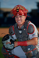Chattanooga Lookouts catcher Tyler Stephenson (9) poses for a photo before a Southern League game against the Birmingham Barons on May 2, 2019 at Regions Field in Birmingham, Alabama.  Birmingham defeated Chattanooga 4-2.  (Mike Janes/Four Seam Images)