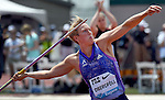 Christina Obergfoll of Germany throws the Javelin on her way to winning the Women's Javelin Throw on the final day of the Prefontaine Classic at Hayward Field in Eugene, Oregon, USA, 30 MAY 2015. (EPA photo by Steve Dykes)