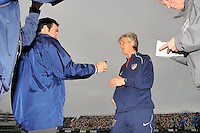 USA coach Pia Sundhage discusses game strategy with media following her team's victory over Norway.  The USA defeated Norway 2-1 at Olhao Stadium on February 26, 2010 at the Algarve Cup.