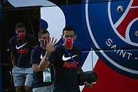LISBON, PORTUGAL - AUGUST 15: Argentinian professional soccer player Ángel Di María gestures as the team arrive to Myriad hotel in Lisbon, on August 15, 2020.<br /> Paris Saint-Germain won against Atalanta (2-1), this Wednesday in Lisbon, to qualify for the semifinals of the Champions League, for the first time since 1995. They will play againist the RB Leipzig on Tuesday.<br /> (Photo by Luis Boza/VIEWpress via Getty Images)