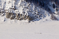 Saturday March 10, 2012  A dog team travels along the Yukon River from Galena toward Nulato Iditarod 2012.
