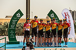 Bahrain-McLaren before the start of Stage 5 of the Saudi Tour 2020 running 144km from Princess Nourah University to Al Masmak, Saudi Arabia. 8th February 2020. <br /> Picture: ASO/Kåre Dehlie Thorstad | Cyclefile<br /> All photos usage must carry mandatory copyright credit (© Cyclefile | ASO/Kåre Dehlie Thorstad)