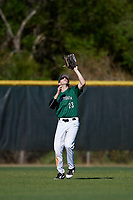Dartmouth Big Green center fielder Matt Feinstein (23) catches a fly ball during a game against the Northeastern Huskies on March 3, 2018 at North Charlotte Regional Park in Port Charlotte, Florida.  Northeastern defeated Dartmouth 10-8.  (Mike Janes/Four Seam Images)