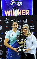 Mystics captain Sulu Fitzpatrick with head coach Helene Wilson after the ANZ Premiership netball final between Northern Mystics and Mainland Tactix at Spark Arena in Auckland, New Zealand on Sunday, 8 August 2021. Photo: Dave Lintott / lintottphoto.co.nz