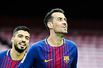 Sergio Busquets Burgos (C) of FC Barcelona celebrates after scoring his goal during the La Liga 2017-18 match between FC Barcelona and Las Palmas at Camp Nou on 01 October 2017 in Barcelona, Spain. (Photo by Vicens Gimenez / Power Sport Images