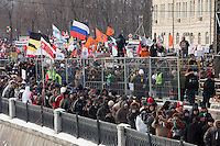 Moscow, Russia, 04/02/2012..Protesters by the frozen Moscow river as tens of thousands of demonstrators marched and protested against election fraud and Prime Minister Vladimir Putin in temperatures of -20 centigrade. Organisers claimed an attendance of 130,000 despite the bitter cold.
