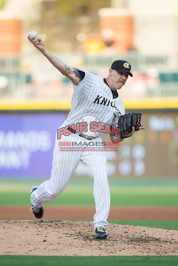 Charlotte Knights starting pitcher Kameron Loe (51) delivers a pitch to the plate against the Pawtucket Red Sox at BB&T BallPark on July 6, 2016 in Charlotte, North Carolina.  The Knights defeated the Red Sox 8-6.  (Brian Westerholt/Four Seam Images)