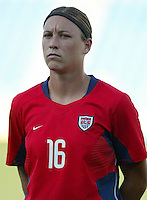 20 August 2004:   Abby Wambach in line-up before the game against Japan during the quarterfinals at Kaftanzoglio Stadium in Thessaloniki, Greece.     USA defeated Japan, 2-1 .   Credit: Michael Pimentel / ISI