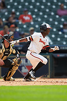Darien Simms (4) of the Sam Houston State Bearkats follows through on his swing against the Vanderbilt Commodores in game one of the 2018 Shriners Hospitals for Children College Classic at Minute Maid Park on March 2, 2018 in Houston, Texas. The Bearkats walked-off the Commodores 7-6 in 10 innings.   (Brian Westerholt/Four Seam Images)