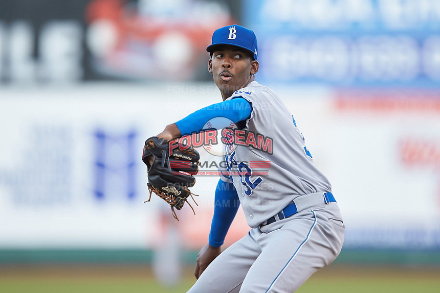 Burlington Royals starting pitcher Adrian Alcantara (32) in action against the Pulaski Yankees at Calfee Park on August 31, 2019 in Pulaski, Virginia. The Yankees defeated the Royals 6-0. (Brian Westerholt/Four Seam Images)