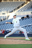 Hunter Ruth (7) of the East Team pitches against the West Team during the Perfect Game All American Classic at Petco Park on August 14, 2016 in San Diego, California. West Team defeated the East Team, 13-0. (Larry Goren/Four Seam Images)
