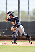 Milwaukee Brewers catcher Kevin Martinez (32) during an Instructional League game against the San Francisco Giants on October 10, 2014 at Maryvale Baseball Park Training Complex in Phoenix, Arizona.  (Mike Janes/Four Seam Images)