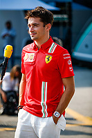 9th September 2021; Nationale di Monza, Monza, Italy; FIA Formula 1 Grand Prix of Italy, Driver arrival and inspection day: LECLERC Charles mco, Scuderia Ferrari SF21