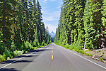 Long, paved, straight, roade in mountains surrounded by evergreen trees.  Mountain backdrop.  Cascade Mountains, Oreogon, USA.  Waldo Lake, Cascade Scenic Byway area. Available exclusively through www.spacesimages.com