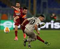 Football Soccer: Europa League -Round of 16 1nd leg AS Roma vs FC Shakhtar Donetsk, Olympic Stadium. Rome, Italy, March 11, 2021.<br /> Roma's Bryan Cristante (L) in action with Shakhtar Donetsk's Morales (R) during the Europa League football soccer match between Roma and  Shakhtar Donetsk at Olympic Stadium in Rome, on March 11, 2021.<br /> UPDATE IMAGES PRESS/Isabella Bonotto