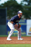 Vermont Lake Monsters third baseman Ryan Howell (4) during a game against the Batavia Muckdogs August 9, 2015 at Dwyer Stadium in Batavia, New York.  Vermont defeated Batavia 11-5.  (Mike Janes/Four Seam Images)