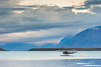 Float plane prepares for take off on Naknek lake, Katmai National Park, southwest, Alaska.