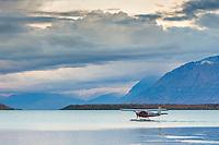 Float plane prepares for take off on Naknek lake, Katmai National Park, southwest, Alaska.