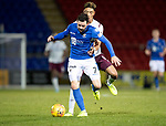 St Johnstone v Hearts…30.10.19   McDiarmid Park   SPFL<br />Drey Wright and Sean Clare<br />Picture by Graeme Hart.<br />Copyright Perthshire Picture Agency<br />Tel: 01738 623350  Mobile: 07990 594431
