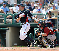 15 March 2009: Infielder Brandon Hicks (75) of the Atlanta Braves hits in a game against the Houston Astros at the Braves' Spring Training camp at Disney's Wide World of Sports in Lake Buena Vista, Fla. Photo by:  Tom Priddy/Four Seam Images