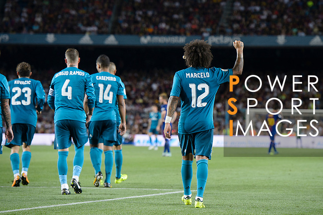Marcelo da Silva of Real Madrid celebrating the opening goal of Real Madrid during the Supercopa de Espana Final 1st Leg match between FC Barcelona and Real Madrid at Camp Nou on August 13, 2017 in Barcelona, Spain. Photo by Marcio Rodrigo Machado / Power Sport Images