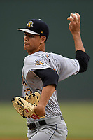 Starting pitcher Freicer Perez (37) of the Charleston RiverDogs delivers a pitch in a game against the Greenville Drive on Thursday, July 27, 2017, at Fluor Field at the West End in Greenville, South Carolina. Charleston won, 5-2. (Tom Priddy/Four Seam Images)