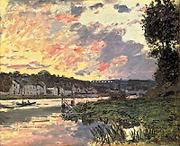 Claude Monet - The Seine at Bougival in the Evening (1870). Northampton, Smith College Museum of Art.