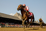 SARATOGA SPRINGS, NY - AUGUST 26: Practical Joke #1, with Joel Rosario up wins the H. Allen Jerkens Stakes on Travers Stakes Day at Saratoga Race Course on August 26, 2017 in Saratoga Springs, New York. (Photo by Bob Mayberger/Eclipse Sportswire/Getty Images)
